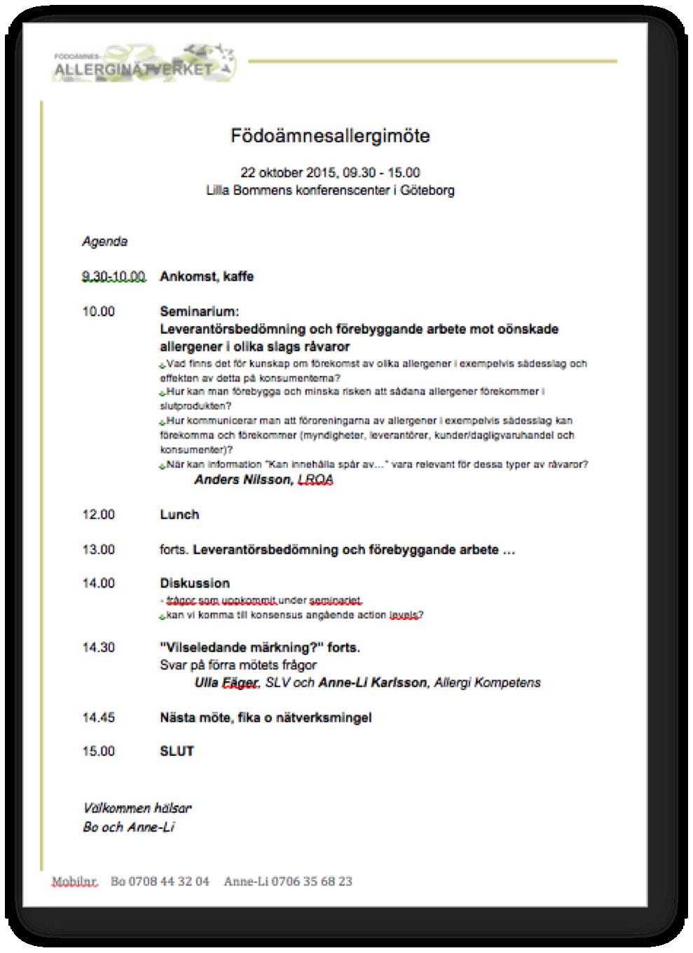 Agenda 22 okt 2015
